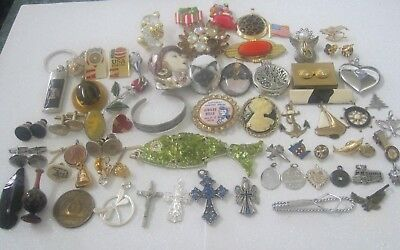 Vintage Now Junk Drawer Mixed Lot of Pendants Brooch Pins + Miscellaneous Stuff
