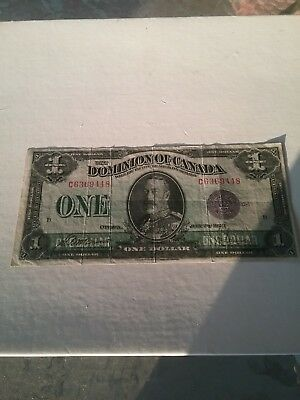 Dominion Of Canada 1923 1 Dollar Purple Grape Lilac Seal Signed Saunders P33G