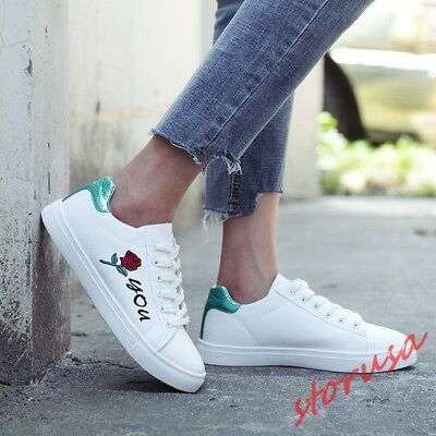 Womens Fashion White Board Shoes Embroidery Flower Korean Style Sneakers Sport
