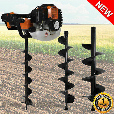 52cc Post Hole Digger Earth Auger Petrol w/ 3 Drill Bits set Fence Borer