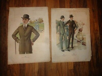 2 Old Vintage Clothing Posters 1917-1918