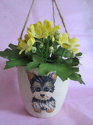 HAND PAINTED ART~~YORKIE Terrier YELLOW FLOWERS MINI HANGING POTTED PLANT~Pretty