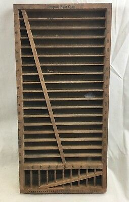 """Very Nice Vint. Wooden Small """"Compact Rule Case"""" Printers Type Tray 15"""" x 7"""""""