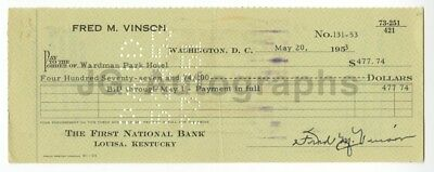 Fred Vinson - Chief Justice of the Supreme - Autographed 1953 Canceled Check