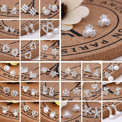 925 Silvering Crystal Rhinestone Ear Studs Silver Earrings Women wedding Jewelry