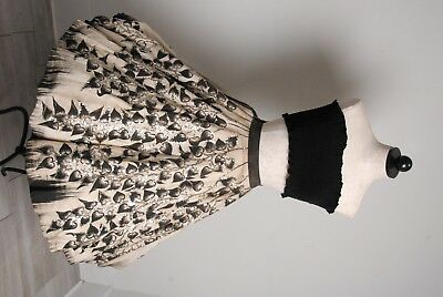 VTG 1950s handpainted mexican full circle skirt, leafs & sequins Rockabilly VLV