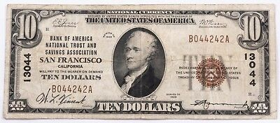 1929 $10 National Bank Note San Francisco ch. #13044 Nice Problem Free Note