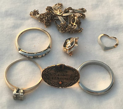 Vintage 14k Gold JEWELRY LOT Scrap 10.6g Pin Necklace Rings