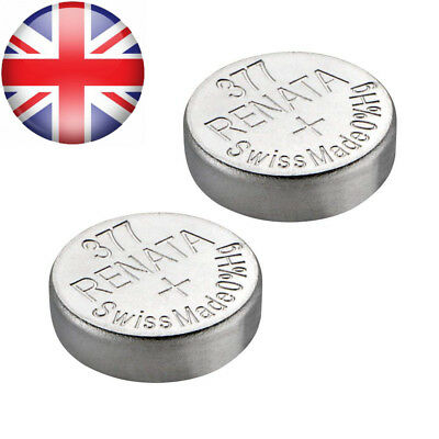 Renata Watch Battery Swiss Made 377 or SR626SW OR AG4 1.5V (2 x 377 SR 626 SW)