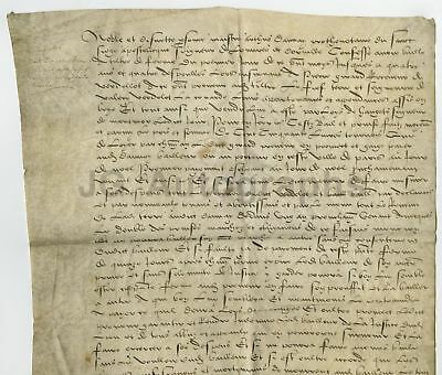 500+ Year Old (1523) French Original Antique Document on Parchment