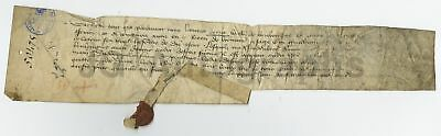 600+ Year Old 1409 French Original Antique Doc w/ Wax Seal - Old Time Dealer ID