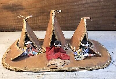 Vintage 3 Little Girl Indians Scene Teepee & Canoes w/Campfire