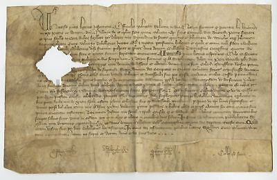 """1384 - Nearly 600+ Year Old French Antique Doc. - ID as """"Picardie"""" 7.5 x 12"""""""