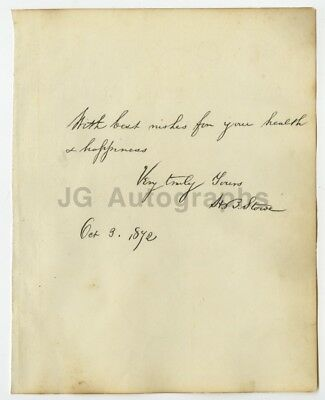 Harriet Beecher Stowe - Hand Signed and Inscribed Album Page from 1872