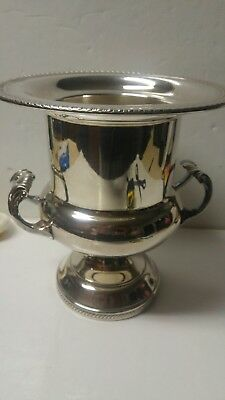 Vintage Fb Rogers Trophy/ Champagne Bucket Silver Plated Rimmed Bottom 10 3/4 In