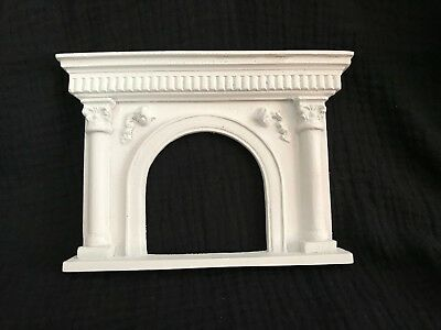 Dollhouse Miniature Cast Poly Resin Fireplace with Pillars & Arch Opening 1:12