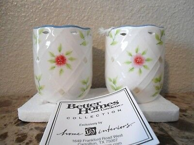 Home Interiors /Better Homes Country inn Porcelain Candle Holders Set of 2 NIB