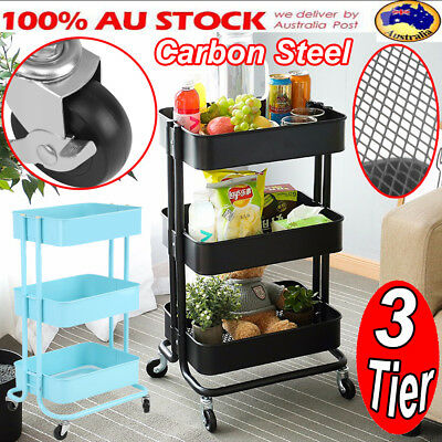 3 Tier Kitchen Storage Castors Wheel Trolley Basket Rack Kitchen Hair Salon Cart