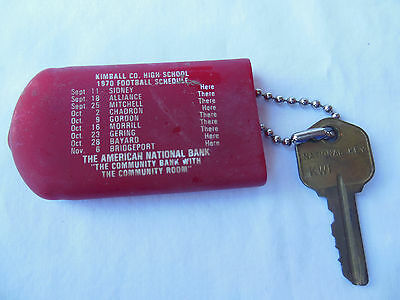1970 Vintage Advertising, Kimball,NE High School Football Schedule, Key Chain