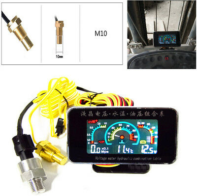 LCD Digital Display Car Truck Water Temp /Oil Pressure/Voltage Gauge w/ Sensors