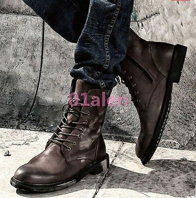 British Men Chic Shoes Vintage Real Leather Riding Ankle Boots Fur Lining Thick
