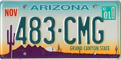 """USA Number Licence Plate ARIZONA """"GRAND CANYON STATE""""  EMBOSSED"""