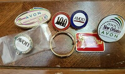 Lot Of 5 Vintage Avon Pins And 1 Keychain Thousandaire Club New Orleans Vegas