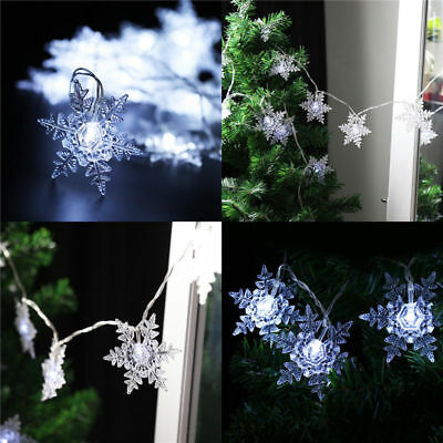 Finether Solar Powered 20 LED Steady/Flashing Lg Clear Snowflake String Lights