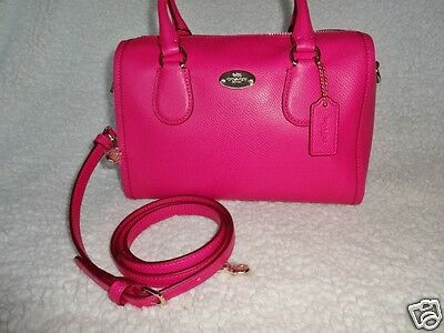 COACH Leather Pink Mini Bennett Handbag Satchel Shoulder Bag Tote Pink Ruby New