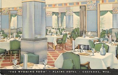 "Cheyenne Wyoming~Plains Hotel~""The Wyoming Room""~Dining~Art Deco Linen~1937 PC"