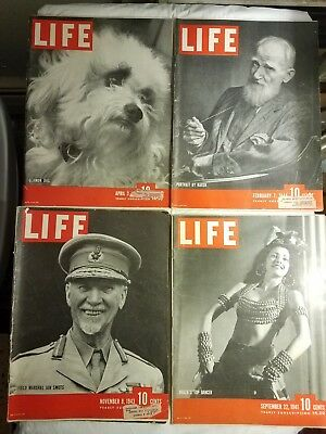 Vintage Lot Of 7 Ww2 Life Magazine  1941-1945 Great Period Ads News Stories