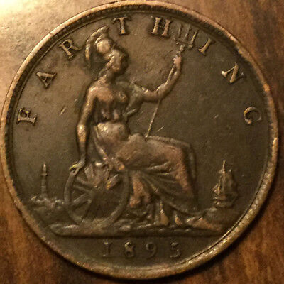 1895 UK GB GREAT BRITAIN VICTORIA FARTHING - Yound head - RAre coin!