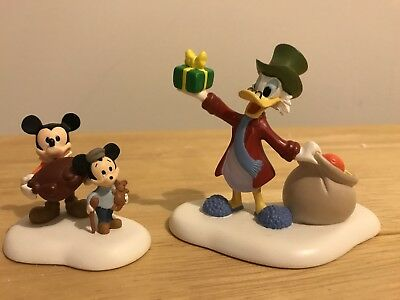 Dept 56 A Merry Mickey Christmas Cratchits COMPLETE Scrooge Turkey Disney 2004