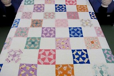 Dated 1931 By Named Quilter Vintage Feed Sack Hand Pieced SPIDER WEB Quilt Good!
