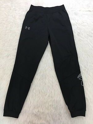 Boys Under Armour Joggers Loose Size Youth Large Black Pants Athletic Fitness