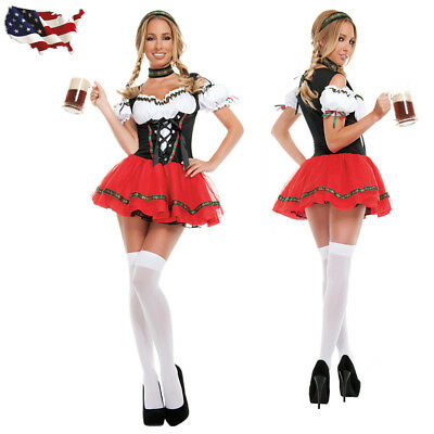 US Oktoberfest Beer Girl Costume Adult Women German Gretchen Maiden Fancy Dress