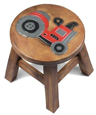 Kids Childrens Childs Wooden Stool Chair. Red Tractor