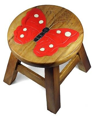 Kids Childrens Childs Wooden Stool Chair. Butterfly