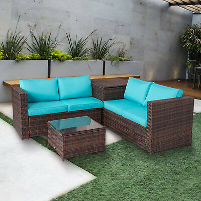 4 PC Patio Rattan Sofa Outdoor Wicker Sofa Sectional Furniture Set Storage Table