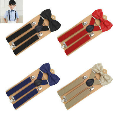 Kids Boys Girls Baby Toddlers Solid Suspender and Bow Tie Set Adjustable UK