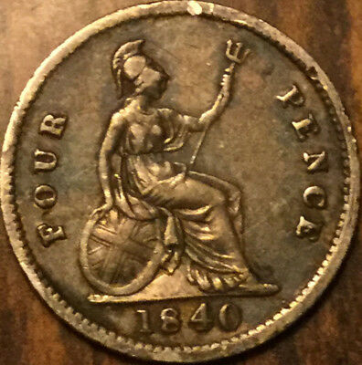 1840 Uk Gb Great Britain Victoria Silver Fourpence