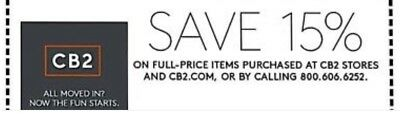 CB2 15% off entire full-priced order-1coupon(includes furniture)