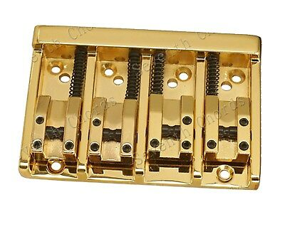 NEW Vintage 4String Saddle Bass Bridge / Top Load or Strings through body Gold