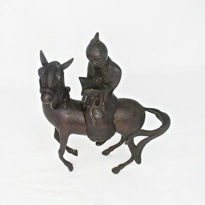 G319: Japanese old tasty copper incense burner of statue of man on the horse