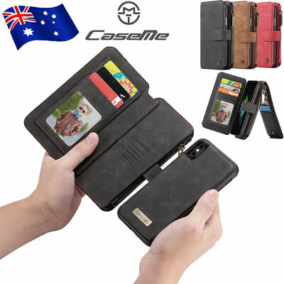 For iPhone Xs Max Xr X 7 8 Leather Removable Magnetic Wallet Case Zipper Cover