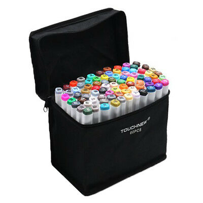 TOUCHNEW 60 Colors Artist Dual Head Sketch Markers Set For Manga Marker Sch T4P5