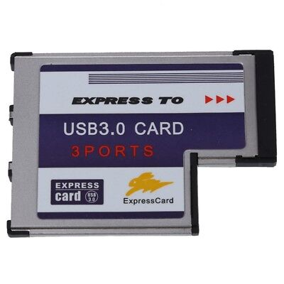3 Port USB 3.0 Express Card 54mm PCMCIA Express Card for Laptop NEW W8S4