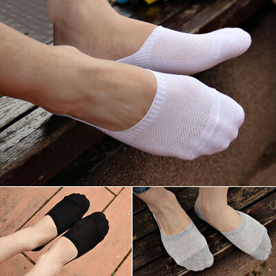 5 Pairs Men's Invisible No Show Non-Slip Loafer Boat Ankle Low Cut Cotton Socks
