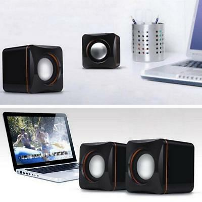 Mini Portable Square Wired USB Stereo Audio Music Player Speaker MP3 Laptop PC