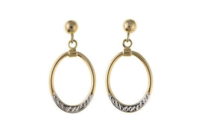 Two Colour Gold Earrings Solid 9 Carat White Yellow Circle Drop Ears Hallmarked